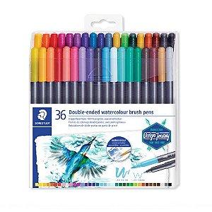 Brush Pen Ponta Dupla Aquarelavel Staedtler 36 Cores