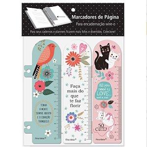 Marcador de pagina Flore, Passaros, Gatos Fina Ideia