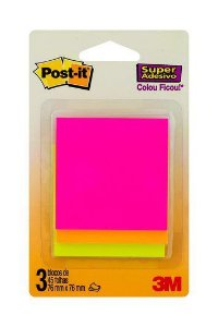 Post it Notas Adesivas 3 Blocos 76x76mm Cores Sortidas