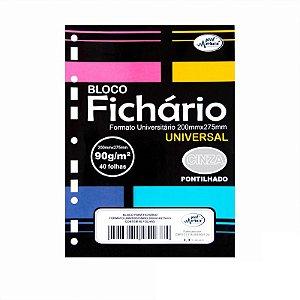 Folhas de Fichario 90g Pontilhadas Papel Cinza Tamanho Universitário Merci