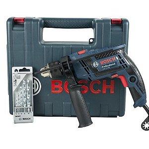 """Furadeira de Impacto 1/2"""" Bosch GSB13RE Maleta + Kit Brocas 650W"""