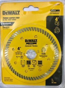 "Disco Diamantado Turbo para Porcelanato 4"" (105mm) DW57400BHP Dewalt"