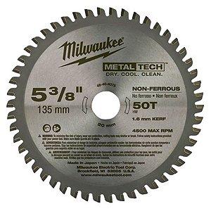 Disco de serra circular de metal de 135 mm x 20 mm x 50 Dentes 48-40-4075 Milwaukee