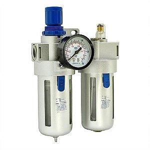 """Conjunto filtro de ar e lubrifil 1/2"""" com manometro PDR"""