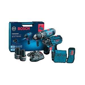Kit parafusadeira GSB 1200-2-LI e chave de impacto GDR 120-LI + acessórios 06019F00E3 BOSCH