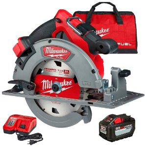 "2732-21HD SERRA CIRCULAR 7.1/4"" (185MM) A BATERIA 18V FUEL MILWAUKEE - C/ 1 BAT 18V 12.0AH, CARREG 220V, DISCO E BOLSA"