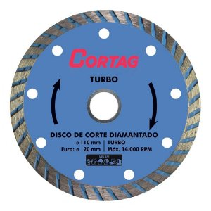 Disco de Corte Diamantado Cortag Turbo 110mm Furo 20mm 60599