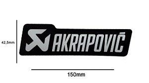 Adesivo térmico Akrapovic retangular 15,0 cm (Preto e prata)