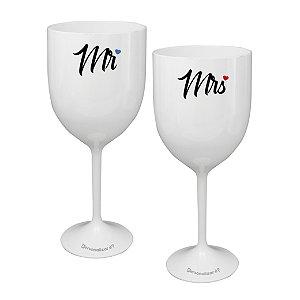 Kit 2 Taças Vinho Personalizadas Mr&Mrs - Dia dos Namorados