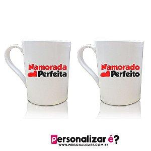 """Caneca Personalizada Acrilico PS   """"Namorada perfeita"""" e 1 Caneca """"Namorado perfeito"""""""