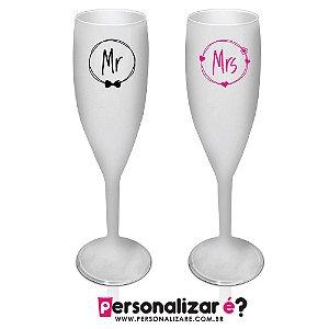 """1 Taça Champagne  """"Mr"""" e 1 Taça Champagne """" Mrs"""""""