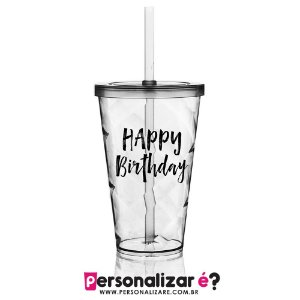 "Copo com Tampa 550ml  ""Happy Birthday"""
