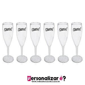 """6 Taça Champagne  """"Cheers"""""""