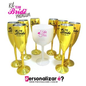 "Kit Premium 10 Taças Metalizadas + 1 Taça Gin ""I Said Yes"""