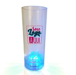 Copo Long Drink Tubo 300ml com Led - Poliestireno Acrilico PS