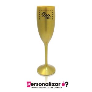 Taça Champanhe Acrílico Dourada 170ml