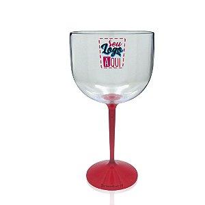 Taça Gin Base Vermelho 550ml - Poliestireno Acrilico PS