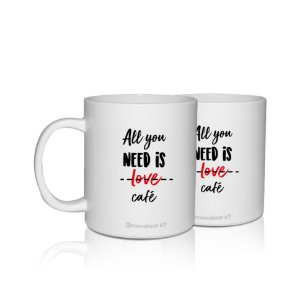 KIt 2 Caneca Personalizada 300ml Criativo Presente Lembrancinha - All you Need is Love
