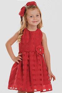 Vestido Infantil Franzido em Xadrez Viko Vermelho