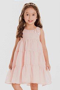 Vestido Infantil Chiffon Aplicação Pérolas Rosa