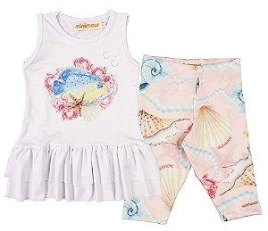 Conjunto Infantil Blusa e Legging Fundo do Mar