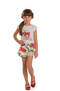 Conjunto Infantil Shorts Pregas e Blusa Cerejas
