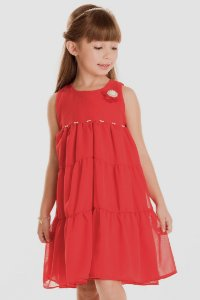 Vestido Infantil Chiffon Aplicação Pérolas Vermelho