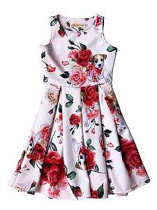 Vestido Infantil Neoprene Rosas Beagle Off White