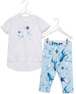 Conjunto Infantil Blusa e Legging Fundo do Mar Azul