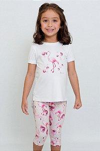 Conjunto Infantil Blusa e Legging Flamingo Rosa