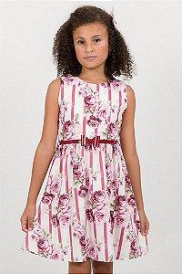 Vestido Infantil Franzido Listrado Flores Off White