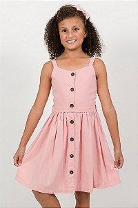 Vestido Infantil Linho com Viscose Rosa