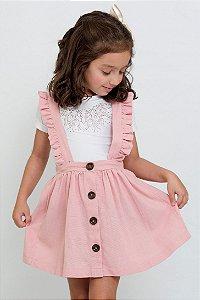 Conjunto Infantil Salopete Linho com Blusa de Strass Rosa