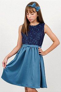 Vestido Infantil Franzido Sem Manga Azul