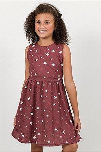 Vestido Infantil Franzido Sem Manga Estrelas Vermelho