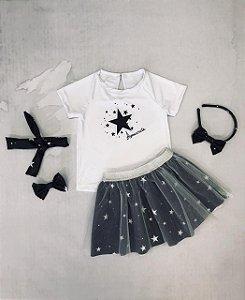 Conjunto Infantil Blusa e Saia Tule Estrelas Preto