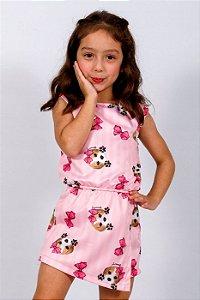Macaquinho Infantil sem Manga Beagle Rosa