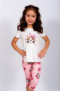 Conjunto Infantil Blusa e Legging Beagle Rosa