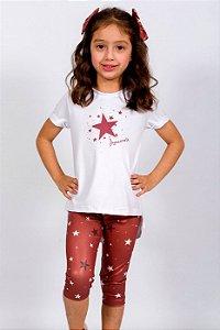 Conjunto Infantil Blusa e Legging Estrelas Vermelho