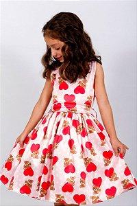 Vestido Infantil Urso Vermelho