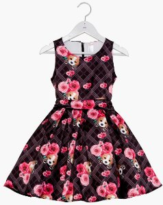 Vestido Infantil Beagle Xadrez Preto