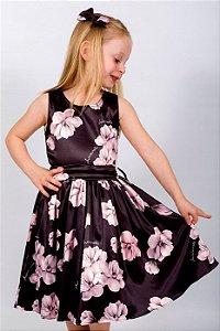 Vestido Infantil Tulipa Preto