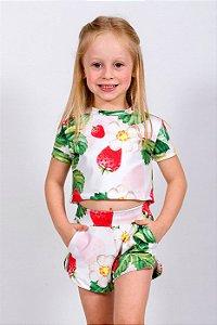 Conjunto Infantil Blusa e Shorts Morango