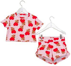 Conjunto Infantil Blusa e Shorts Urso Vermelho