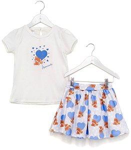 Conjunto Infantil Blusa e Saia Urso Azul