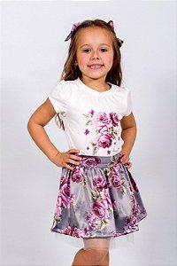 Conjunto Infantil Blusa e Saia Rosas Cinza