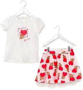Conjunto Infantil Blusa e Saia Urso Vermelho