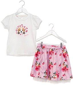 Conjunto Infantil Blusa e Saia Beagle Xadrez Rosa