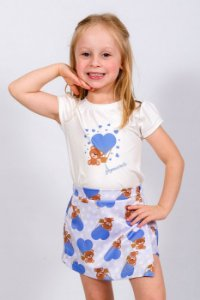Conjunto Infantil Blusa e Shorts Saia Urso Azul