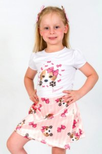 Conjunto Infantil Blusa e Shorts Saia Beagle Rosa